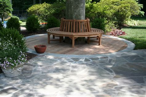 tree ring bench tree bench with wood and flagstone patio contemporary