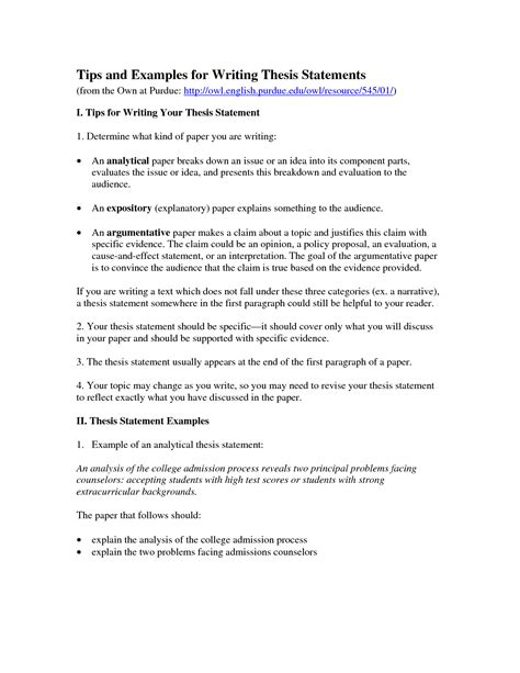examples  thesis statements
