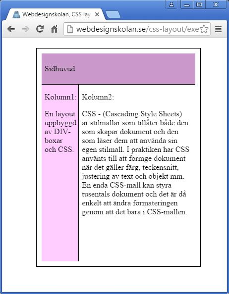 css layout patterns webdesignskolan css layout