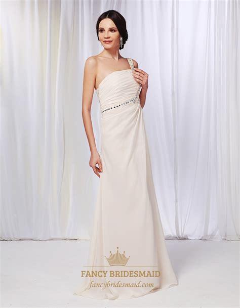 draped prom dress chagne chiffon bridesmaid dress one shoulder draped