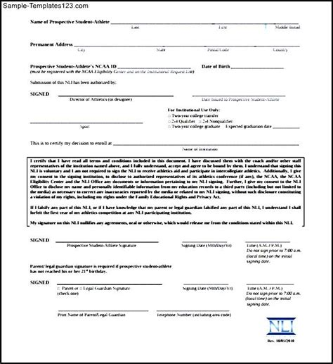 National Letter Of Intent Document Ncaa Eligibility National Letter Of Intent Sle Templates