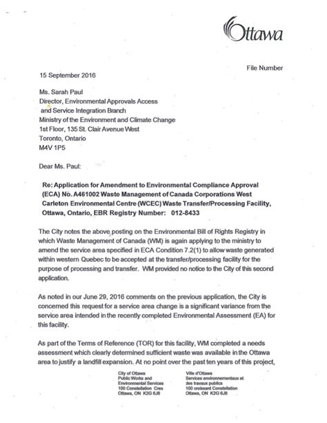 Variance Request Letter Exle City Of Ottawa Letter Re Carp Landfill Service Area