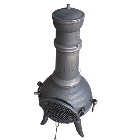 Foxhunter Gold Cast Iron Steel Chimenea Chiminea Chimnea Cast Iron Patio Heater