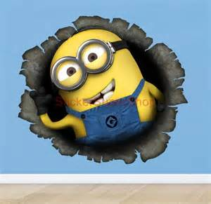 minion wall stickers despicable me minion in my wall movie decal removable wall