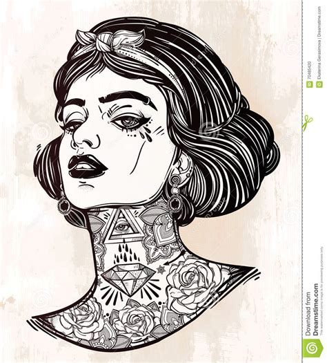 Galerry tattoo girl coloring page