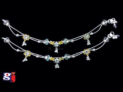 Kaos Silver New Design new design silver anklet silver anklet design by gj payal anklets