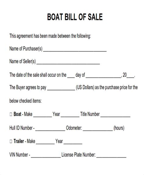 used boat bill of sale form generic boat bill of