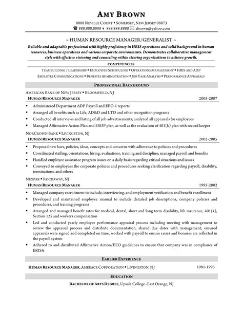 hr generalist resumes for experienced sle resume hr generalist resume ideas