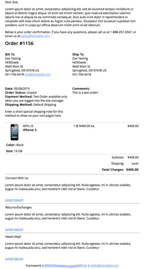 confirmation of order email template order confirmation email exle payment processing