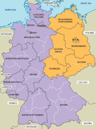 south west germany map map of east and west germany