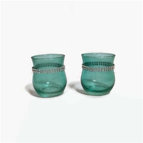 Teal Votive Candle Holders by Set Two Teal Votive Holders Teal With Bling Votive Holders