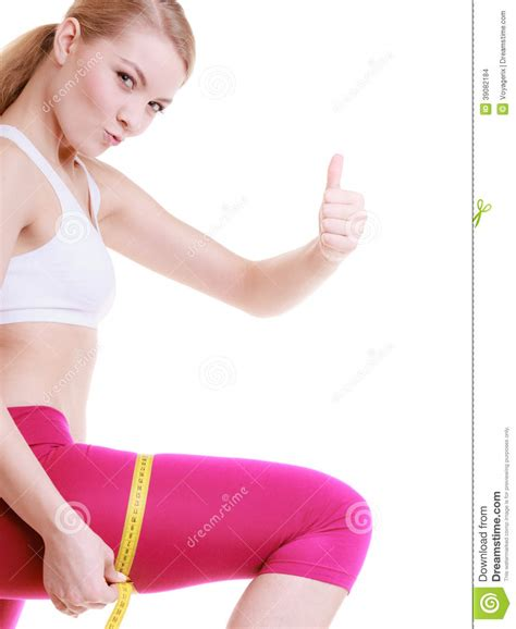 a girl for all time measurements fitness sport measuring thigh stock photo