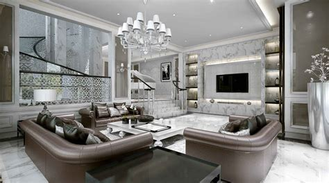 luxurious living room luxurious big living room with leather sofas 3d model max