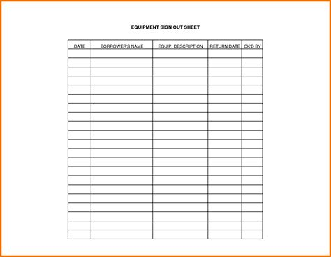 equipment sign out sheet template projects to try
