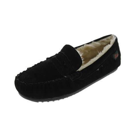 bass moccasin slippers g h bass co 6866 mens suede faux fur lined moccasin