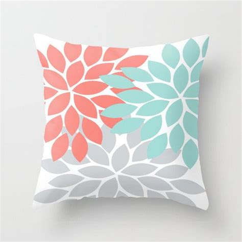 coral colored pillows coral throw pillows search coral blue gray