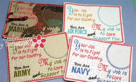 decoration monogram husband pillow pillow arms back book support military in the hoop embroidered mug mats mug rugs 4