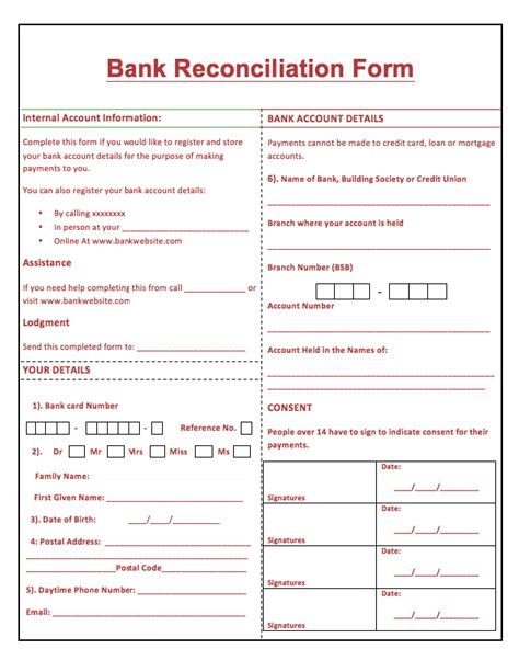 business bank reconciliation template printable bank reconciliation form resumes design