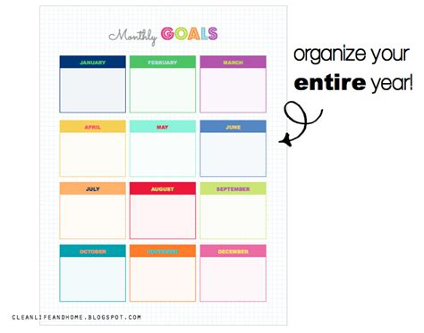 printable monthly goal calendar clean life and home freebie monthly goals planner