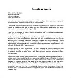 Sle Acceptance Speeches For Awards sle acceptance speech exle template 9 free