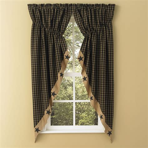 prairie curtains sturbridge star patch gathered swags prairie curtains park