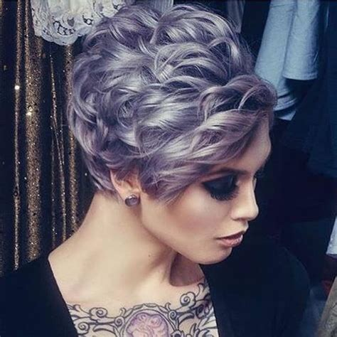 silver lavender hair color  short curly style  rose