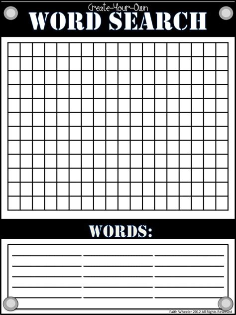 make your own word search template create your own wordsearch