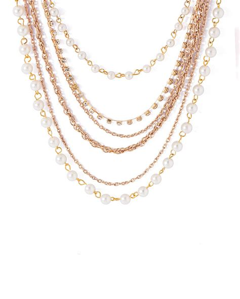multi layered beaded necklace buy multi layered pearl beaded necklace