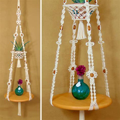 macrame hanging table with fruit basket hanging plant shelf