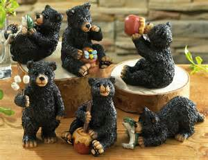 Black Bear Decor Set Of 6 Northwoods Black Bear Collectible Figurines