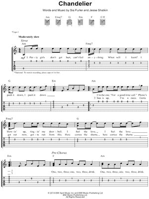 Sia Chandelier Chords Sia Quot Chandelier Quot Guitar Tab Print