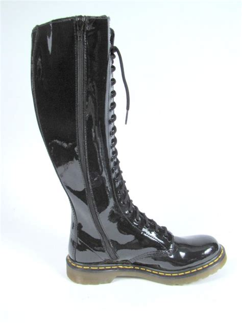 dr martens black patent leather knee high boots 8 lace up