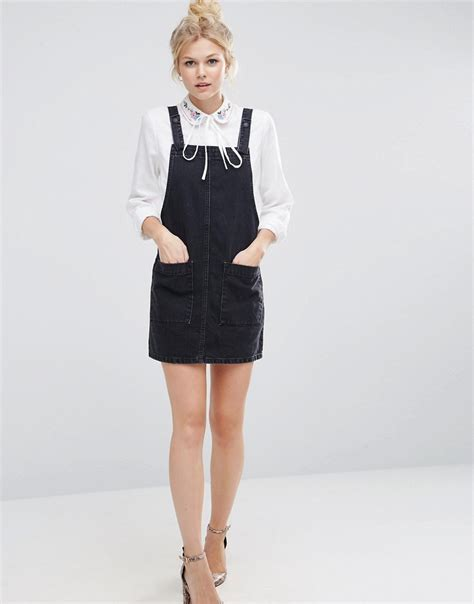 A Line Pinafore Dress asos denim a line pinafore dress in washed black