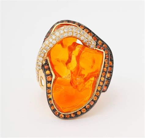 mexican opal orange sapphire gold ring for sale at