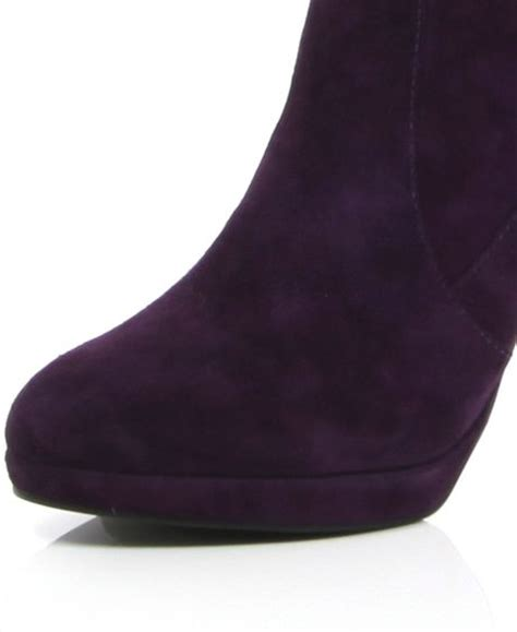 river island purple suede knee high boots in purple lyst