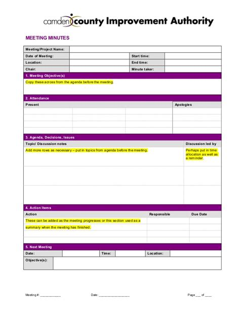 meeting minutes template 2