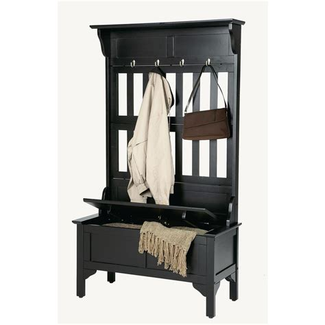 solid wood hall tree bench home styles hall tree in black shop your way online