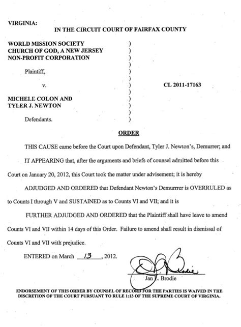 Fairfax County Court Records Court Order On Newton Demurrer Wmscog Vs Colon Newton