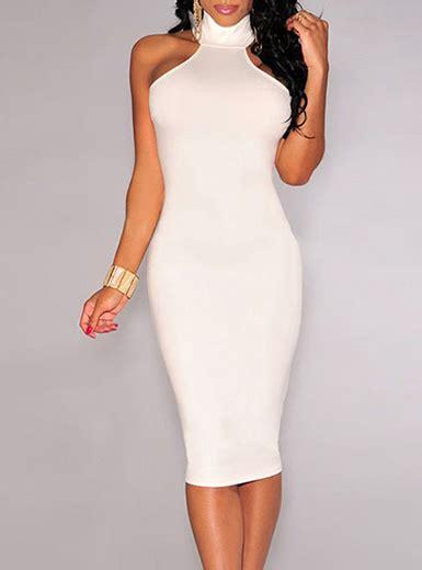 Simple Yet Style Of Dress simple yet knee length dress white halter
