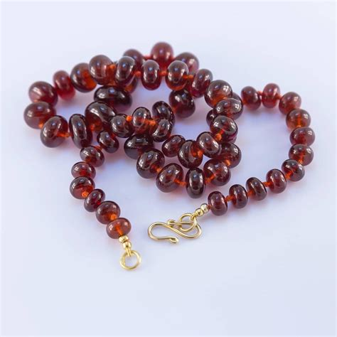 large orange garnet bead necklace for sale at 1stdibs
