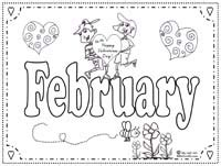 Free Printable February Activities Calendar Template 2016 February Coloring Page