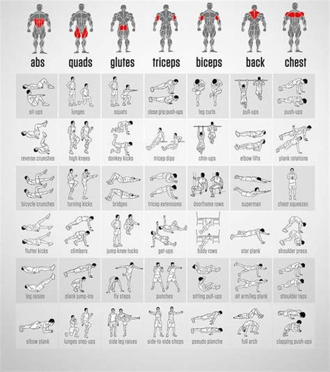 home workout plans men best full body workout routine chart with illustrations