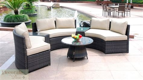 6 seat curved outdoor patio furniture set pe wicker rattan sofa lounge table new ebay