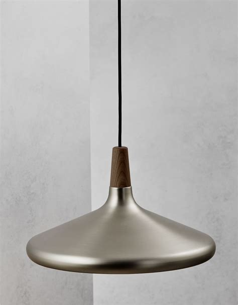 Metal Pendant Lights Brushed Steel Walnut Wood Pendant