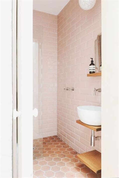 Modern Pink Tile Bathroom Pink Tiles Blush Pink And Tile On