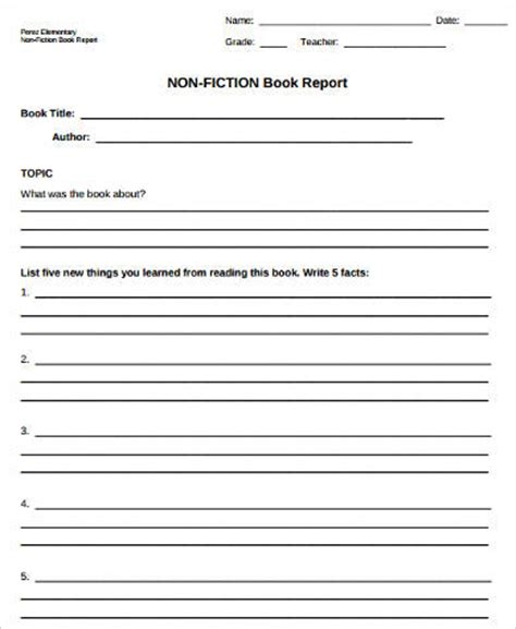 sle of book report for elementary book report form 28 images sle book report template 8