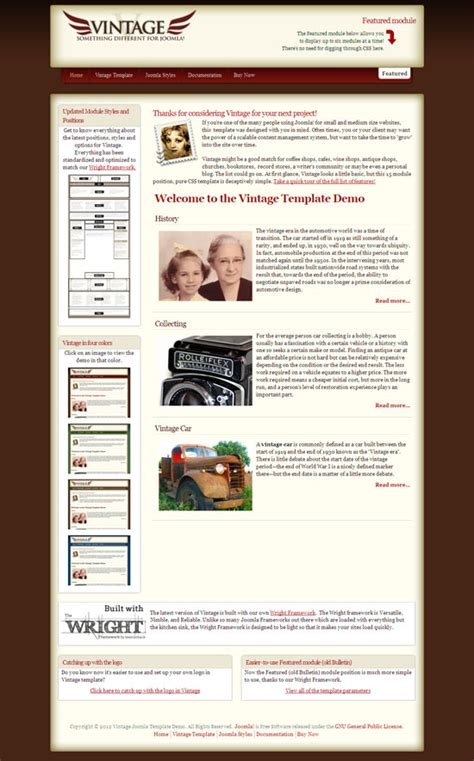 Template Joomla Vintage | vintage joomla template for coffee shop cafe wine shop
