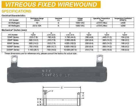 vitreous wirewound resistor resistors by nte and others 120007