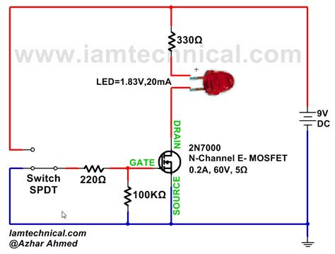 transistor mosfet switch n channel enhancement type mosfet 2n7000 as a switch iamtechnical