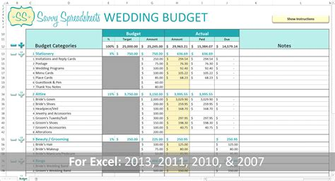 Branded Wedding Budgets Savvy Spreadsheets Wedding Cost Spreadsheet Template